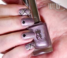 """Lola's A-England """"Princess Tears"""" mani.  Nail decals made with MoYou Sailor 05XL image plate, Mash black stamping polish, applied over A-England """"Encore Margot"""", Seche Vite top coat, black studs from Born Pretty Store"""