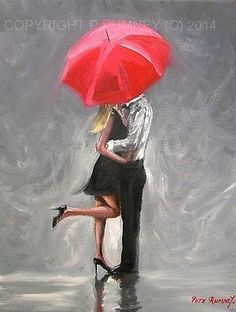 PETE RUMNEY FINE ART MODERN OIL ACRYLIC PAINTING ORIGINAL KISSES IN THE RAIN NR