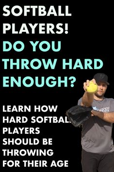 How hard should a player be throwing? Learn common speeds with drills to improve throwing velocity in this article! Softball Workouts, Softball Pitching, Softball Coach, Girls Softball, Softball Players, Fastpitch Softball, Softball Stuff, Volleyball, Running Drills