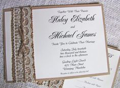 rustic wedding invitations, Lace Wedding Invitation Lace, Burlap Wedding Invitation Suite Rustic, Shabby Chic The invitation features burlap band with off white lace