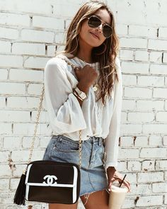"""JULIE SARIÑANA on Instagram: """"Staying cool with latte and new denim mini! @shop_sincerelyjules / Shop Dixie mini shopsincerelyjules.com """""""
