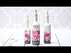 Decoupage świeczniki z butelek - DIY tutorial - YouTube