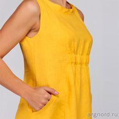 Летнее платье из льна (цвет желтый) - Арт. М2/113 - Кайрос (рис. 6)
