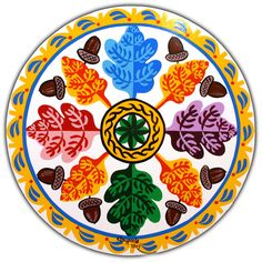 The Mighty Oak  The rosette in the center is to keep away all ills. The eternal chain is to keep you together. The oak leaves and acorns are for strength in mind and body. The border and ocean is for smooth sailing in the autumn years of your life.