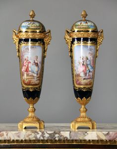 A Pair of Late 19th Century Gilt Bronze Mounted Cobalt Blue Sèvres Style Porcelain Vases  Signed H. Setowerneuk