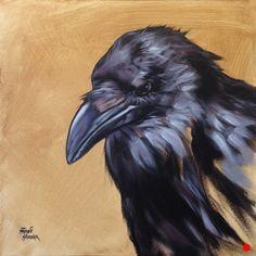 """Raven / 2015 / x / Acrylic on canvas / Sold . Crow Art, Raven Art, Bird Art, Crow Painting, La Art, Crows Ravens, Foto Art, Animal Totems, Wildlife Art"