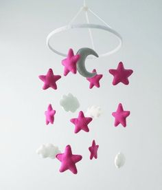 Nursery baby crib mobile pink stars grey moon clouds