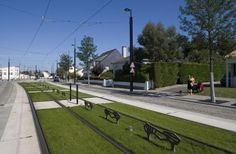 """Tram line 3"" by AUP, Nantes, 2000 - 2003 #france #tram #transit #facility #redevelopment #green"