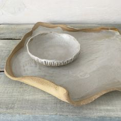 White Earth Organic Stoneware Pottery Serving by ElmStudios