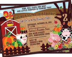 FALL in love with this pumpkin farm invite! This is a super cute, one of a kind, customizable invite created with original illustrations!
