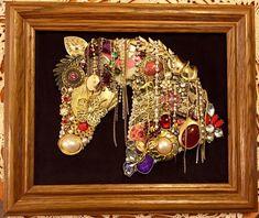 Handmade upcycled vintage jewelry horse framed artwork