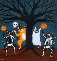 Halloween Celebration Cat Original Folk Art by KilkennycatArt