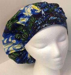 Van Gogh Starry Night Medical Bouffant OR Scrub Cap Surgical Surgery Hat #Handmade
