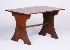 Gustav Stickley Child's Trestle Table. Perfect for a coffee table. Unsigned. Refinished. 36″w x 23.5″d x 22″h