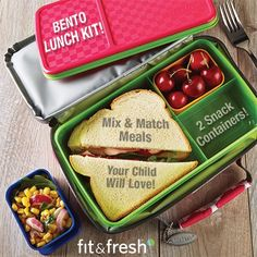 Fit & Fresh's All-in-One Bento Container allows you to Mix & Match Fun Meals you or your Child will Love! #fitfresh #bento