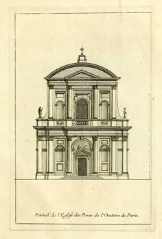 Elevation of the front facade of the Oratory Church, Paris Neoclassical Architecture, Renaissance Architecture, Classic Architecture, Historical Architecture, Ancient Architecture, Beautiful Architecture, Architecture Details, Rendering Drawing, Technical Drawing