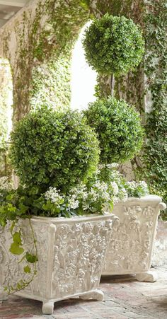 Inspired by ornate Jacobean florals, these beautiful trough planters are sure to leave a lasting impression. Each piece is hand-molded from original carvings. Boxwood Garden, Garden Pots, Boxwood Planters, Topiary Garden, Amazing Gardens, Beautiful Gardens, Ideas Para El Patio Frontal, Hydrangea Care, White Hydrangea Garden