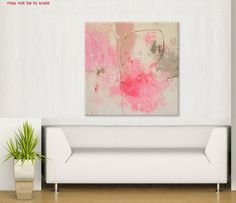 large abstract pink  painting contemporary art by ElenasArtStudio