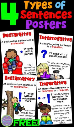 Types of Sentences Posters and Interactive Notebook Entry- FREE! Declarative, interrogative, exclamatory, and imperative.