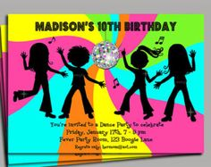 Dance Invitation Printable or Printed with FREE SHIPPING - Personalized for your Party - Neon Brights - Dance Party Twirl & Swirl Collection