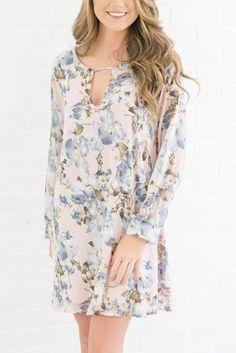 Pretty Spring Dress- Light Pink Floral Dress- $42- Juliana's Boutique