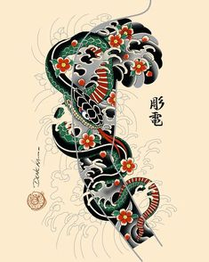 Discover recipes, home ideas, style inspiration and other ideas to try. Japanese Snake Tattoo, Japanese Tattoo Designs, Japanese Sleeve Tattoos, Tattoo Designs Men, Black Sleeve Tattoo, Full Sleeve Tattoo Design, Dragon Oriental, Cobra Tattoo, Traditional Japanese Tattoos