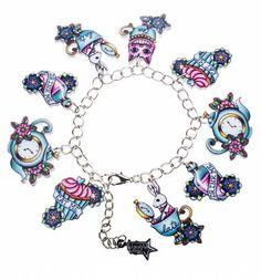 Alice In Wonderland tatouage Bracelet à breloques de Pins de Punky : Main