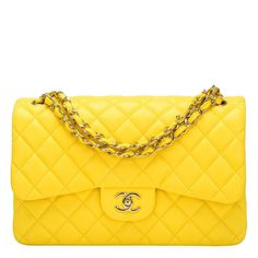 55768cc849d Chanel Yellow Quilted Lambskin Jumbo Classic Double Flap Bag Handbags Chanel  Classic Jumbo
