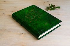 HardCover Journal Personalized, GuestBook Wedding Alternative, Gift for Her, A5 Green Leather Notebook, Tree Of Life, Unique Forest Journal