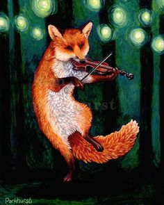 Red Fox capers as he plays the fiddle to the fireflies at night. Artist Kim Parkhurst - http://www.etsy.com/shop/toadbriar