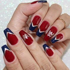 60 Stylish Nail Designs For Short Nails 54 Cute Nail Art, Cute Nails, Pretty Nails, Fabulous Nails, Perfect Nails, Wonder Woman Nails, Hair And Nails, My Nails, Superhero Nails