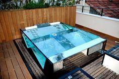 Inox and glass spa Shipping Container Swimming Pool, Spa Jacuzzi, Hot Tub Backyard, Mini Pool, Glass Pool, Concrete Pool, Plunge Pool, Sauna, Cool Pools