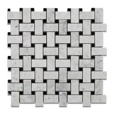 Buy Carrara White Marble Honed Basketweave Mosaic Tile w/ Black Dots Sample Product Attributes - Item: Premium (SELECT) Quality Italian Carrara White Marble HONED BASKET WEAVE MOSAIC TILE w/ BLACK DOT