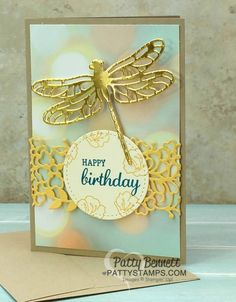 Stampin' Up! Note Card featuring Occasions catalog Detailed Dragonfly and So Detailed thinlit dies, plus Falling in Love designer paper bokeh background. Birthday card idea by Patty Bennett
