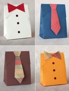 Fancy Tie Gift Bags DIY Gift Wrapping Tutorials - Perfect for Father's Day Gifts Diy Gift Wrapping Tutorial, Creative Gift Wrapping, Wrapping Ideas, Creative Gifts, Diy Father's Day Shirts, Tie Gift Box, Diy Gifts, Handmade Gifts, Craft Gifts