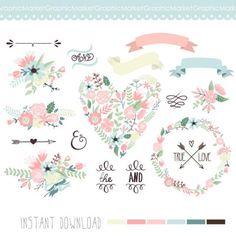 15 unique Floral clip art, wreaths, laurels, arrows, flowers, heart, ribbons…