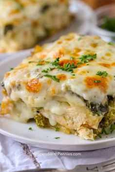 creamy chicken lasagna is one of my favorite comfort foods ever. A classic lasagna recipe is reimagined with my favorite cheesy alfredo sauce, veggies, and chicken. Chef Recipes, Dinner Recipes, Healthy Recipes, Dinner Ideas, Steak Recipes, Mexican Recipes, Delicious Recipes, Tasty, Ethnic Recipes