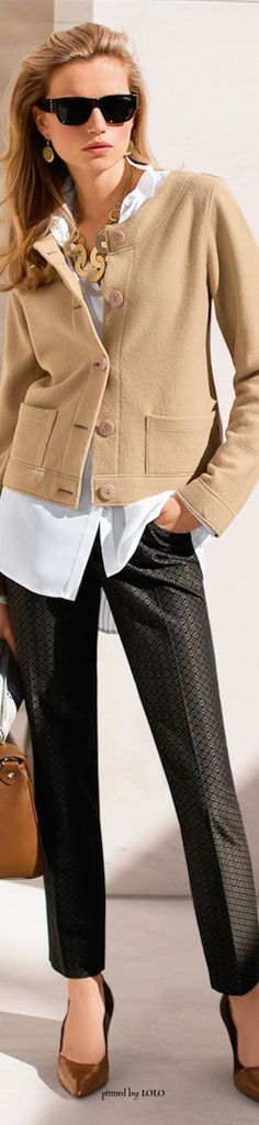 Chic outfit ~ like the camel jacket!