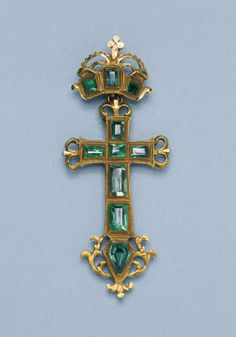 Cross Pendant, Spanish or Spanish Colonial, late 16th century, gold and emeralds, 6.3 x 2.7 cm (2 1/2 x 1 1/6 in.)