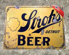 TIN SIGN Stroh's Beer Metal Decor Wall Art Vintage by TinWorld