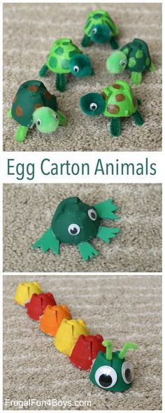 Carton Turtle Craft (And a Caterpillar and Frog too Egg Carton Animal Crafts - Make turtles, frogs, and caterpillars! Fun project for kids.Egg Carton Animal Crafts - Make turtles, frogs, and caterpillars! Fun project for kids. Fun Projects For Kids, Fun Crafts For Kids, Craft Activities For Kids, Toddler Crafts, Art For Kids, Animal Crafts For Kids, Crafts For Children, Creative Ideas For Kids, Summer Camp Crafts