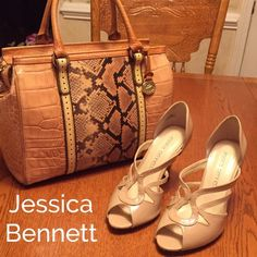 """Jessica Bennett. Leather Heels Beautiful Bone color.  Excellent condition only worn a few times. No signs of wear except on the very bottom. Very nice shoes!!!  Heels measures 3.5"""". Jessica Bennett Shoes Heels"""