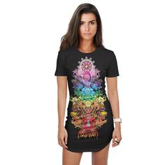 THE SEVEN CHAKRAS Fitted Tee Dress Rave Clothing Store, Festival Clothing, Online Clothing Stores, Festival Outfits, Women's Clothing, Seven Chakras, Hooded Blanket, Visionary Art, Rave Outfits