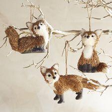 Natural Fox Ornament Set