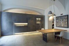 Tip Top Table, Vienna, 2015 - chociwski architekten ZT-GmbH Kitchen Interior, Modern Interior, Designs To Draw, Kitchen Dining, Ceiling Lights, Table, Pictures, Furniture, Tops