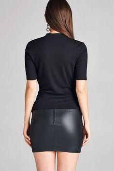 Salt Tree Women's Elbow Slv Surplice w/Choker Ribbed Top, US Seller Mini Skirt Dress, Sexy Skirt, Skirt Outfits, Casual Outfits, Skirt Fashion, Fashion Outfits, Looks Pinterest, Black Leather Mini Skirt, Micro Skirt