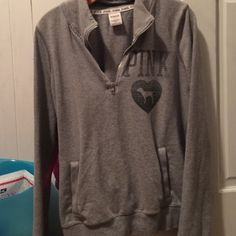 VS pink pullover I accept all reasonable offers and love to trade :) PINK Victoria's Secret Jackets & Coats