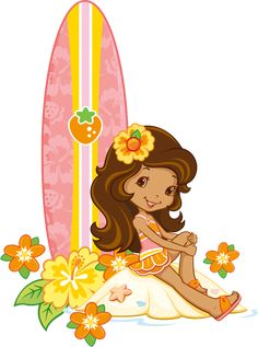 Orange Blossom and her surf board on the beach right next the orange blossom flowers from Strawberry Shortcake