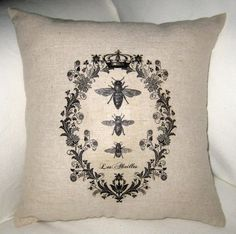French Queen Bee Pillow with Crown, Shabby Chic Paris Inspired Country Farmhouse Cushion, France, Cotton, Burlap, Linen Home Decor on Etsy, $14.99