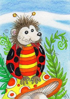 Hedge Hog Lady Bug ACEO EBSQ Kim Loberg Fantasy insect Mini Art mushroom Ferns #IllustrationArt